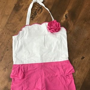 Janie and jack pink and white romper size 8